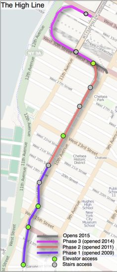 Map of High Line route in Manhattan~ really enjoyed walking along the HighLine