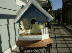 Bright & sunny blue beach themed birdhouse.. $29.99, via Etsy.