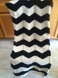 Adult size chevron black and white crochet modern blanket/afghan
