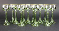 Set 12 Moser Bohemian Czech Crystal Clear Green Art Glass Gold Rim Wine Goblets