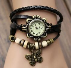 Lady Watch Vintage Style Wrist Watch Real Leather Bracelet, Handmade Women's Watch, Everyday Bracelet  PB0163