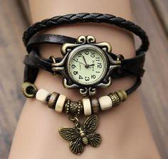 Lady Watch Vintage Style Wrist Watch Real Leather Bracelet, Handmade Women's Watch, Everyday Bracelet  PB0163