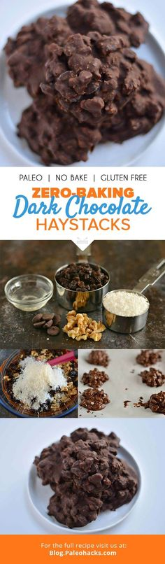 Paleo Meal Plans: These dark chocolate haystacks are a quick no-bake snack that chocoholics will love. Paleo Dessert, Healthy Desserts, Dessert Recipes, Frozen Desserts, Eat Healthy, Yummy Treats, Sweet Treats, Yummy Food, Sin Gluten