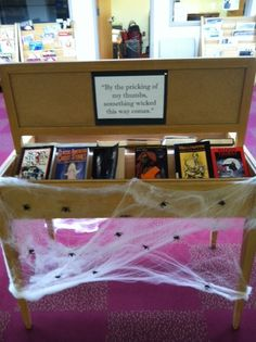 Halloween book display at library. By Alyssa at bookstakeyouplaces