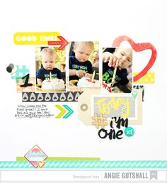 Today I'm One! - Scrapbook.com - Use non-themed scrapbook supplies for birthday layouts.