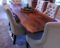 Live edge slab dining tables custom made for you! Raw edge table from black walnut slabs. Wood Slab Dining Table, Custom Dining Tables, Dining Room Table, Wood Tables, Stump Table, Kitchen Tables, Dining Set, Kitchen Ideas, Live Edge Table