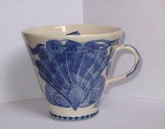 Pru Green Wivenhoe Studio Pottery Cup Mug Nautical Theme Seashell Pattern Great (01/30/2013)