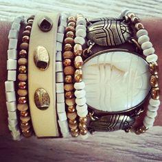 Ivory, brass & gold.