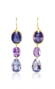 "Shop Yellow Gold, Iolite, and Amethyst ""Elizabeth T"" Earrings . These elegant **Marie-Hélène de Taillac** drop earrings feature iolite and amethyst gemstones set in yellow gold. Amethyst Earrings, Amethyst Gemstone, Ring Earrings, Jewelry Design Earrings, Gemstone Jewelry, British Crown Jewels, Teardrop Earrings, Artisan Jewelry, Marie"