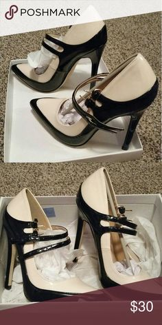 Gorgeous Heels Brand new, never worn stilettos. 4.75 inch heel, black and beige, size 8 but fit a little small. Shoes Heels