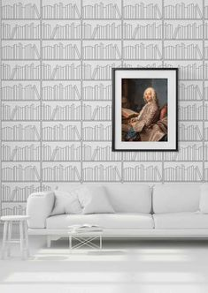 Bookshelf Outline Wallpaper by Mineheart – Lime Lace Modern Bookshelf, Bookshelves, Modern Family, Home And Family, Spanish Villas, Industrial Wallpaper, Room Dimensions, Simple Lines, Wall Wallpaper