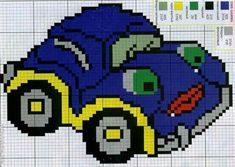 Crochet Stitches, Crochet Patterns, Hama Disney, Crochet Car, Cars Characters, Just Cross Stitch, Charts And Graphs, Fair Isle Knitting, Knitting Charts