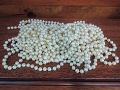 **SOLD** 26.5 Feet of Vintage Pearlescent Garland by JenuineCollection on Etsy #pearls #pearlgarland #garland #weddingdecor #christmasdecor