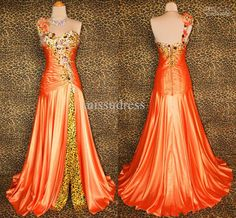 Wholesale Prom Dresses - Buy Fashion Real Picture Orange Print Dress One Shoulder Embroidery Beading Side Split Prom&Party Dress, $131.5 | DHgate