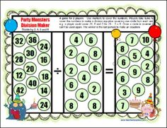 Party Monsters Division Maker - one of the 12 Printable Division Board Games from Games 4 Learning - These math board games are designed to help children develop mastery of basic division facts dividing by 1-10. $