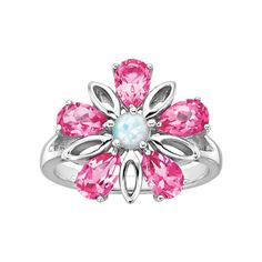 Created Pink Sapphire and Opal Flower Ring