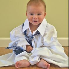1st annual father's day photo in dad's shirt and tie. I want to do this every year as he grows up.
