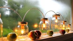 Mason Jar Lights  Banner Style  Modern Industrial by BootsNGus, $220.00