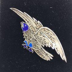 Vintage Filigree Eagle Pin Blue Enamel by NineCarolineAntiques