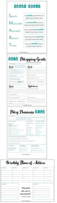 SMART Blogging Goals and Business Plan - Free Printable - http://www.startamomblog.com