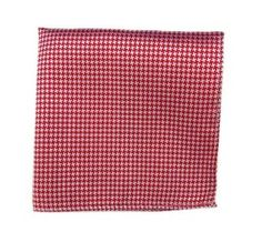 100% Silk Woven Red and White Houndstooth Pocket Square TheTieBar. $8.99