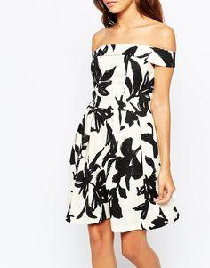 Warehouse   Warehouse Mono Print Bardot Dress at ASOS