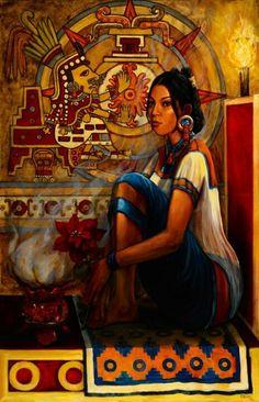 """Chantico, Goddess Of Fire"" by Ricardo Ortega. Mexican Artwork, Mexican Paintings, Mexican Folk Art, Mexican Style, Art Paintings, Art Chicano, Hispanic Art, Latino Art, Aztec Culture"