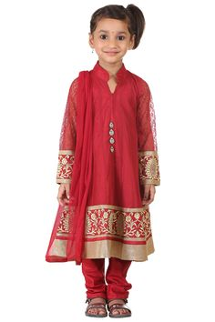 Buy Ashwini Girls Netted Embroidery Red Salwar for Girls from age 2-8 years at http://Singlekart.com/ Currently available for Customers in Bangalore. #singlekart RHClothing