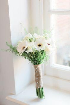 Gerbera Bouquet Flowers Bride Bridal Modern Rustic Ivory Barn Wedding http://vickylamburn.com/