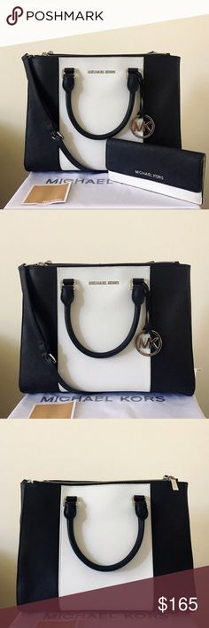 Michael Kors Large Sutton Stripe With Wallet A beautiful and classic set! Black and white Saffiano leather with silver detailing. Great for all occasions. Both lightly used. Authentic.   Sutton satchel/ crossbody shows minor wear on the bottom feet, a little bit wrinkle on the bottom part of the back. Please see pictures for detail. Please check closely since they are not very noticeable.  Wallet has light pen mark inside, please see picture for detail. Overall in good condition…