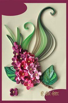 Printre hobby-uri: quilling, kusudama, origami, bijuterii handmade...: Quilling - Lilac flower (Flori de liliac)