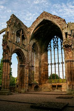 Ruins of Melrose Abbey, Scotland Oh The Places You'll Go, Places To Travel, Places To Visit, Abandoned Churches, Abandoned Places, Beautiful Buildings, Beautiful Places, Melrose Abbey, England And Scotland