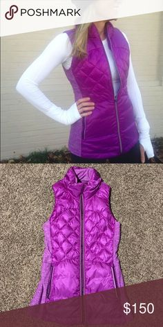 Lululemon Down for a Run Violet Vest ultra lightweight Glyde Light fabric is wind- and water-resistant soft, sweat-wicking Rulu fabric side panels have added LYCRA® fibre so you can move freely secure pockets and media pocket with cord exit side slip pockets to stash gloves and hat mid-run reflective details help keep you bright in low light Runs small lululemon athletica Jackets & Coats Vests
