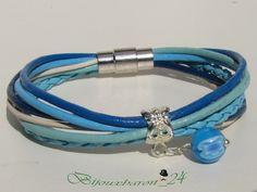 Lederarmbänder - Lederarmband, Türkis-Blau- Weiß - ein Designerstück von Bijouxbaron bei DaWanda