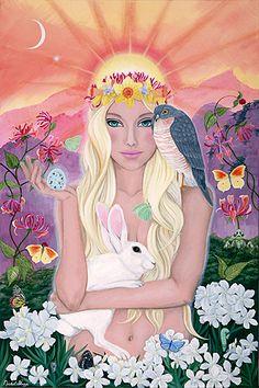 Ostara - Goddess of Spring and the Vernal Equinox Norse Goddess, Goddess Art, Fantasy Kunst, Fantasy Art, Spring Art, Gods And Goddesses, Book Of Shadows, Wiccan, Witchcraft