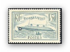 """Yvert et Tellier 300, 1935, 1f50, bleu clair, Paquebot """"Normandie"""". Émis lorsque le """"Normandie"""" a obtenu le """"Ruban bleu"""" pour le record de vitesse de la traversée de l'Atlantique nord, cote neuf : 200 euros."""