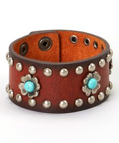 Brown & Turquoise Flower Studded Leather Bracelet