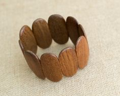 Wooden Stretch Bracelet - Goes with Any Outfit!  Earrings Are Included... by MyAffordableVintage on Etsy
