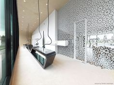 Interior design ideas, home decorating photos and pictures, home design, and contemporary world architecture new for your inspiration. Divider Design, Wall Design, House Design, Corporate Interiors, Office Interiors, Pattern Wall, Designers Gráficos, Decorative Screens, Clinic Design