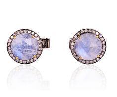 LUNAIRE - Boutons de manchette en argent massif, pierre de lune et diamant.