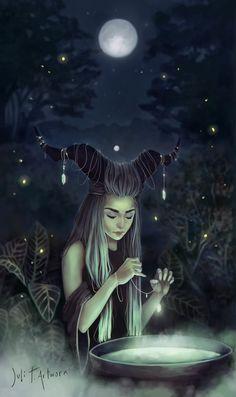 The Moon Witch, Juli T. Artwork on ArtStation at https://www.artstation.com/artwork/VVR68