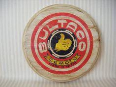 Letrero en madera de pino de Bultaco Retro para decorar.