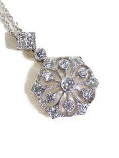 Modern Snowflake Diamond Pendant