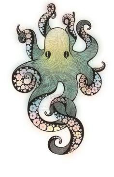 Octopus Illustration by swordtosoul on DeviantArt Kraken, Octopus Tattoos, Octopus Art, Octopus Drawing, Octopus Sketch, Octopus Painting, Octopus Illustration, Arte Sketchbook, Art Mural