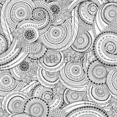 seamless-flower-black-and-white-retro-background-pattern-in-vector-henna-paisley-mehndi-doodles-design-seamless-pattern-black_194662103.jpg (380×380)