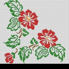 Wildflower hibiscus cross stitch.