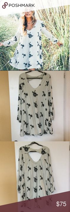 Free people Emma embroidered floral dress L Like new worn once size large Free People Dresses Mini