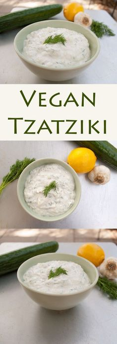 Vegan Tzatziki - This Greek sauce can be used as a dip or condiment. It pairs nicely with falafel or vegan gyros. Made with cucumber, vegan sour cream...