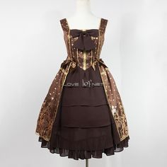 Customized Hot Stamping Polyester and Gauze Bowknot Lolita Vest Dress 3 Colors