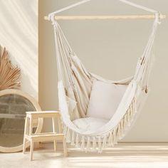 Swing Chair For Bedroom, Hanging Swing Chair, Swinging Chair, Hammock Swing, Hammock In Bedroom, Modern Hanging Chairs, Room Design Bedroom, Room Ideas Bedroom, Bedroom Decor